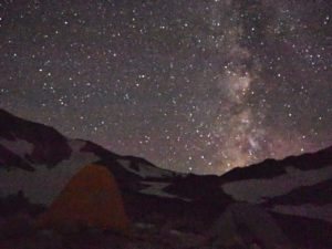 Tsurugi tent site with milky way hike japan